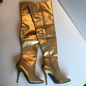 Playful Pleaser 5-inch thigh-high gold boots.